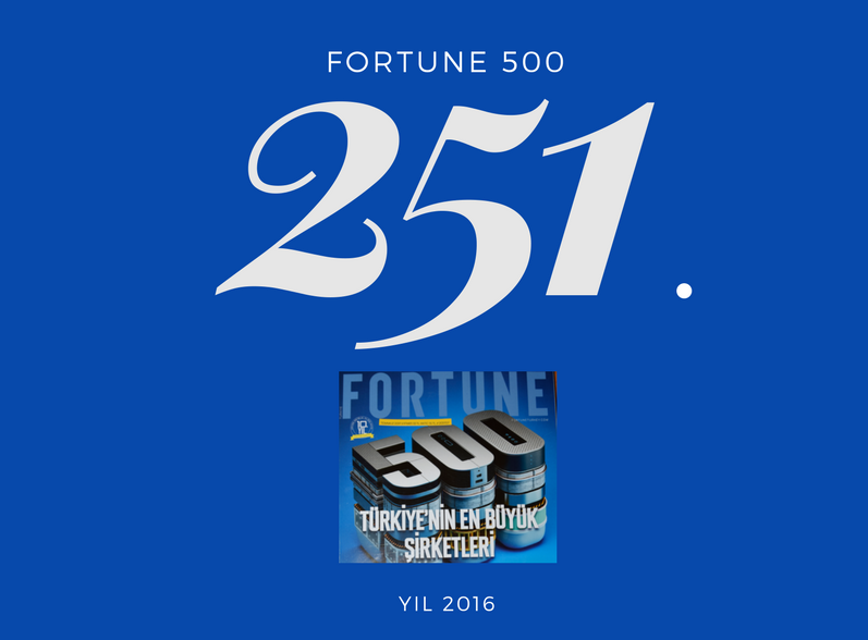 """""""Fortune 500 Türkiye"""" araştırmasında 10 basamak yükselerek 251. Sıraya  yükseldik"""